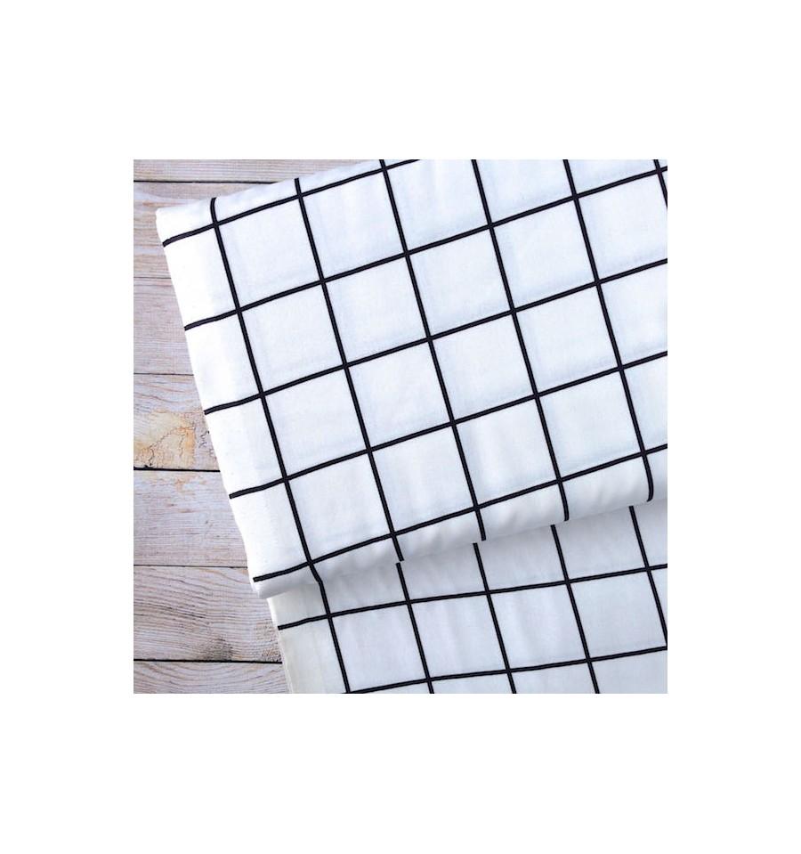 tissu carreaux blanc et noir rico design. Black Bedroom Furniture Sets. Home Design Ideas