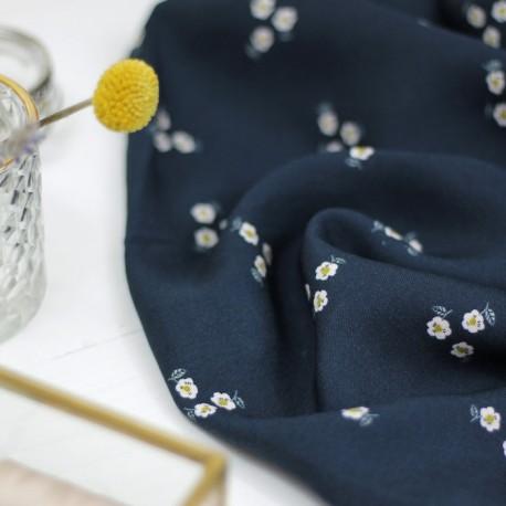 Twill de viscose Bleuroz - Trio de Fleurs Navy