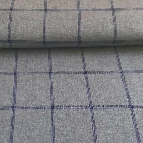 Twill à carreaux gris / bleu