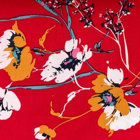 Viscose Fleurs - Rouge
