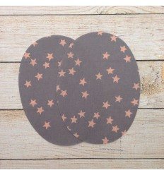 Iron-on patches Gray, pink stars - France Duval Stalla
