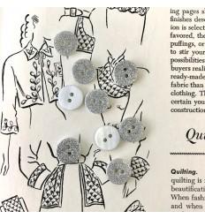 Round glitter button - Silver