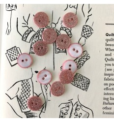 Round glitter button - Rose