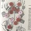 Bouton rond à paillettes - Rose