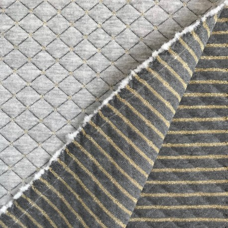 Reversible quilted jersey - Gray, Gold