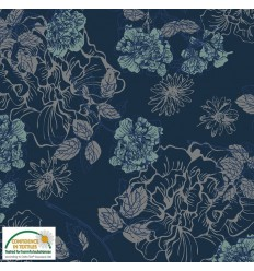 REMNANT 80CM Jersey Flowers - Navy
