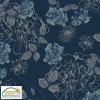 Jersey Flowers - Navy