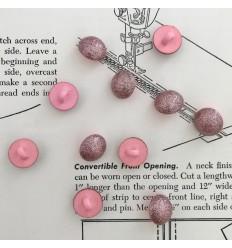 Bouton Boule à paillettes - Rose