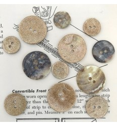 Mother of pearl glitter button - Gold