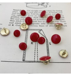Runder Metallknopf - rot