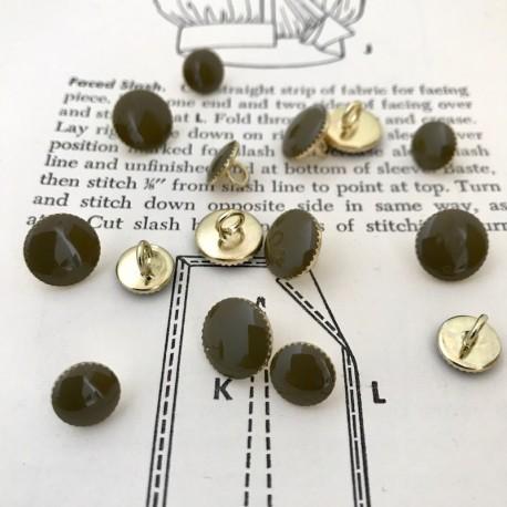 Round Metal Button - Kaki