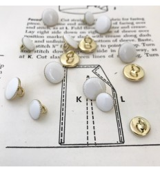 Round Metal Button - White