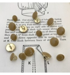 Round Metal Button - Beige