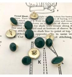 Round Metal Button - Green