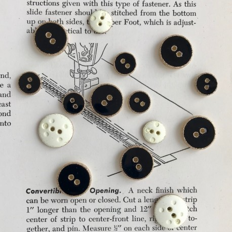 Enamelled Button - Black, gold