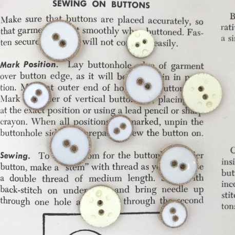 Enamelled Button - White, gold
