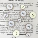 Enamelled Button - White, gold