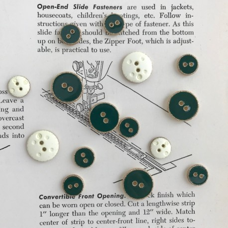 Enamelled Button - Green, gold