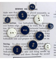 Enamelled Button - Navy, gold