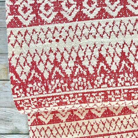 Jacquard knit - Coral, ecru