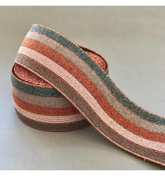 Elastique rayures 5cm - Gris, cuivre