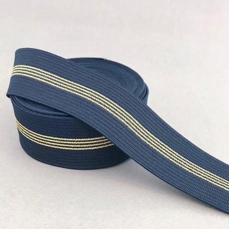 Elastique 4cm - Marine, rayures Or