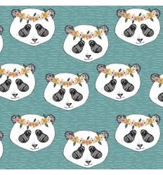 REMNANT Jersey Panda Floral Aqua - Elvelyckan Design