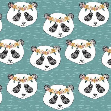 Jersey Panda Floral Aqua - Elvelyckan Design
