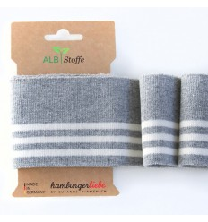 Ribbing Cuff Me Gray / White - ALBStoffe