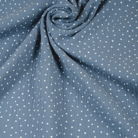 Double Gauze Musselin Dots - Blau