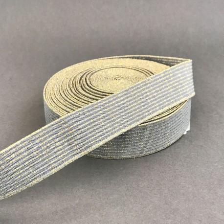 Gray Elastic, gold stripes