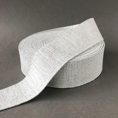Elastique blanc cassé - rayures argent