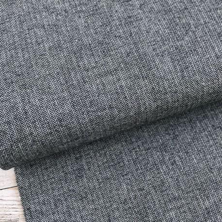 Black herringbone stretch cotton