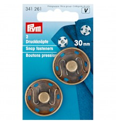 Snap fasteners antique brass - 30mm