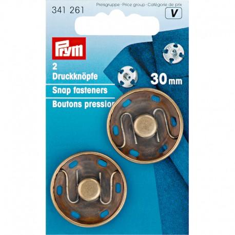 Boutons pression, laiton antique - 30mm