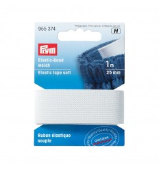 Elastic tape, soft, 25mm, white - Prym