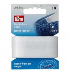 Elastic tape, soft, 30mm, white - Prym