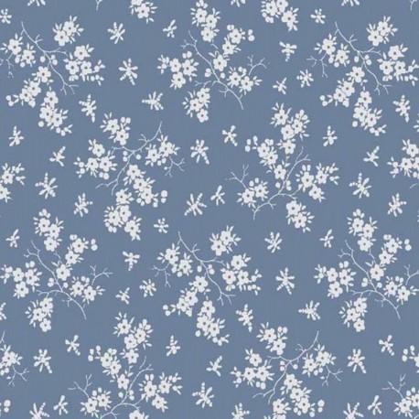 Coton Fleurs - Bleu