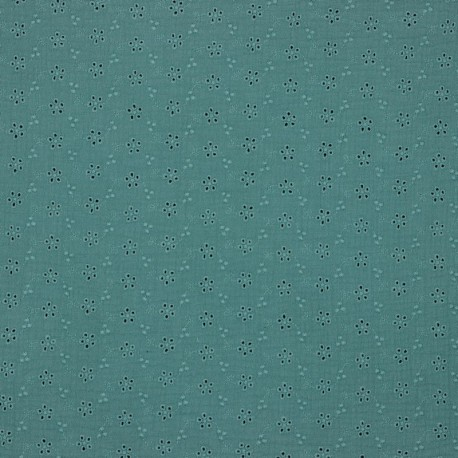 Double Gauze Embroidery - Water green