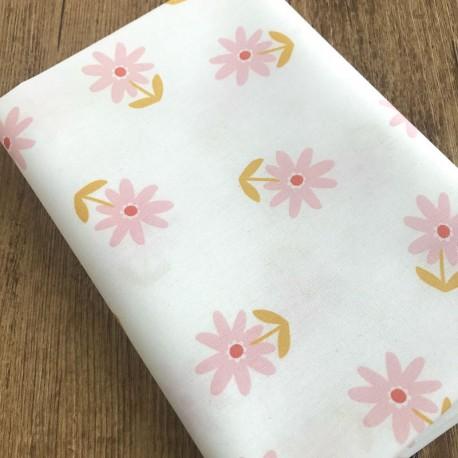Coton Enduit Fleurs - Blanc