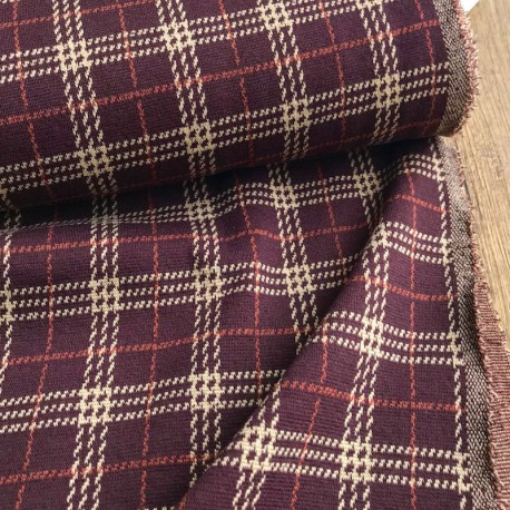 Checked jaquard knit - Bordeaux